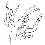 Skizze von Mädchen ` s Ballerinen, die in einer Haltung und in einem Springen stehen Lizenzfreies Stockfoto