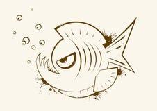Skizze von Piranha Stockbilder