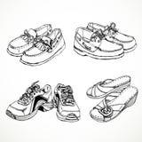 Skizze von Schuhen für Männer und Frauenmokassine, Turnschuhe Stockfotografie