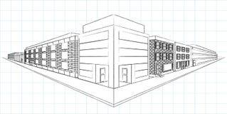Skizze Zwei-Punkt Perspecitive Lizenzfreies Stockbild