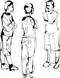 Skizzefirma von drei Gefährten sprechen Lizenzfreie Stockfotografie