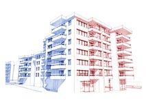 Skizzeidee, Zeichnen des Wolkenkratzers Stockfotografie