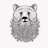 Skizzen-Bär mit einem Bart Hand gezeichnete Abbildung Doodl stock abbildung