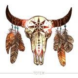 Skizzen-Büffel-Schädel mit Federn Stockbild