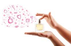 Skizzen, die von der schönen Parfümflasche herauskommen Stockbilder