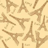 Skizzen-Eiffelturm, nahtloses Muster Stockfoto