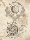 Skizzen für Menü des Lebensmittels Stockfotografie