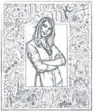 Skizzen-Frau mit den gekreuzten Händen gegen Love Story-Hintergrund 04 lizenzfreie abbildung