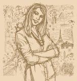 Skizzen-Frau mit den gekreuzten Händen gegen Love Story-Hintergrund lizenzfreie abbildung