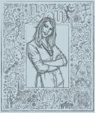 Skizzen-Frau mit den gekreuzten Händen gegen Love Story-Hintergrund stock abbildung