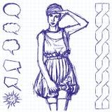 Skizzen-Frau mit der Hand vektor abbildung