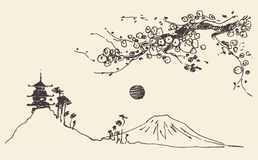 Skizzen-Fuji-Gebirgspagodenblüten Japan-Vektor Lizenzfreie Stockbilder