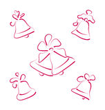 Skizzen-gesetzte Weihnachtsglocken lokalisiert auf weißem Hintergrund Stockfoto