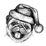 Skizzen-Hundpug in Santa Claus-Hut Lizenzfreie Stockbilder
