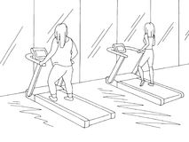Skizzen-Illustrationsinnenvektor der Turnhalle grafischer schwarzer weißer Fette und dünne Frauen sind Training auf einer Tretmüh lizenzfreie abbildung