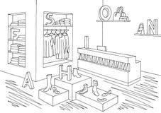 Skizzen-Illustrationsinnenvektor des Shopspeichers grafischer schwarzer weißer Lizenzfreie Stockbilder