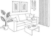 SKIZZEN-Illustrationsvektor des grafischen schwarzen weißen Sofas des Wohnzimmers Innen Lizenzfreies Stockbild