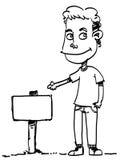 Skizzen-Karikaturmann Stockfoto