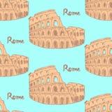 Skizzen-Kolosseum, nahtloses Muster der Vektorweinlese Stockfoto
