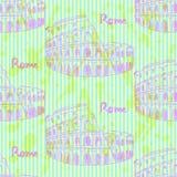 Skizzen-Kolosseum, nahtloses Muster der Vektorweinlese Lizenzfreie Stockbilder