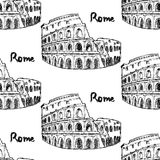 Skizzen-Kolosseum, nahtloses Muster der Weinlese Lizenzfreies Stockfoto