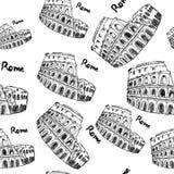 Skizzen-Kolosseum, nahtloses Muster der Weinlese Lizenzfreie Stockfotografie