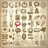 Skizzen-Kommunikationselement des 49 Handabgehobenen betrages Lizenzfreie Stockfotografie