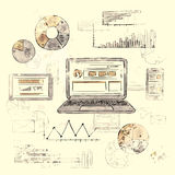 Skizzen-Laptop-intelligentes Telefon-Tablet-Finanzdiagramm alt Lizenzfreies Stockbild