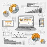 Skizzen-Laptop-intelligentes Telefon-Tablet-Finanzdiagramm alt Lizenzfreies Stockfoto