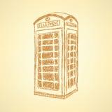 Skizzen-London-Telefonkabine, Hintergrund Stockfotos