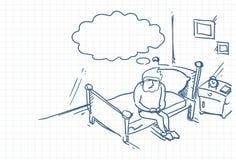 Skizzen-Mann, der Sit On Bed In Morning-Gekritzel über quadratischem Hintergrund aufwacht vektor abbildung