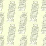 Skizzen-Pisa-Turm, vector nahtloses Muster Stockfotos