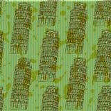 Skizzen-Pisa-Turm, vector nahtloses Muster Stockfoto