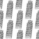 Skizzen-Pisa-Turm, vector nahtloses Muster Lizenzfreies Stockbild