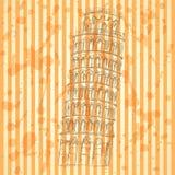 Skizzen-Pisa-Turm, Vektorweinlesehintergrund Lizenzfreie Stockfotografie