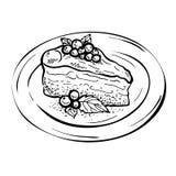 Skizzen-Stück des Kuchens Charlotte Lizenzfreie Stockfotos
