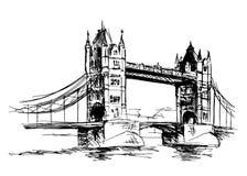 Skizzen-Turm-Brücke lizenzfreie abbildung