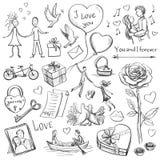 Skizzen-Valentinsgruß-Tag Stockbilder