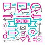 Skizzen-Vektorillustrationen des Handabgehobenen betrages - kreativer Zeichensatz Pfeile, Spracheblasen, Band und andere Markieru Stockbilder