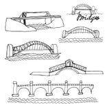 Skizzen von Brücken, auf einem Weiß Lizenzfreies Stockbild