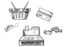 Skizzen von Einkaufsikonen und -symbolen Lizenzfreie Stockfotos