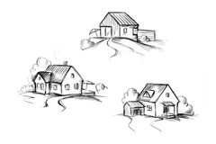 Skizzen von Häusern Lizenzfreie Stockfotos
