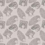 Skizzen von Mädchen mit verschiedenen Frisuren Nahtloses Muster Stockbild