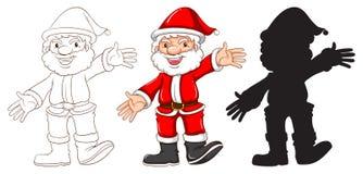 Skizzen von Santa Claus in drei verschiedenen Farben Lizenzfreie Stockfotos