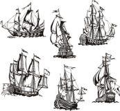 Skizzen von Segelschiffen Lizenzfreies Stockfoto