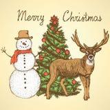Skizzen-Weihnachten eingestellt in Weinleseart Lizenzfreie Stockfotos