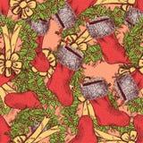 Skizzen-Weihnachtsnahtloses Muster in der Weinleseart Stockbild