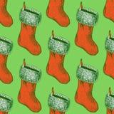 Skizzen-Weihnachtsstrumpf in der Weinleseart Lizenzfreie Stockfotografie