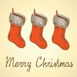 Skizzen-Weihnachtsstrumpf in der Weinleseart Stockfotos