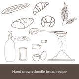 Skizzenart-Bäckereisatz der Weinlese Hand gezeichneter Lizenzfreie Stockbilder